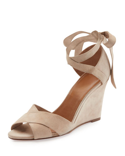 Tarzan Suede Ankle-Wrap Wedge Sandal, Nude