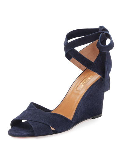 Tarzan Suede Ankle-Wrap Wedge Sandal, Navy
