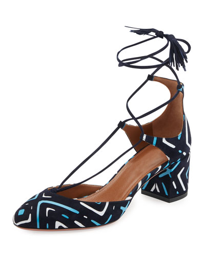 Boheme Printed Suede Block-Heel Pump, Blue Pattern