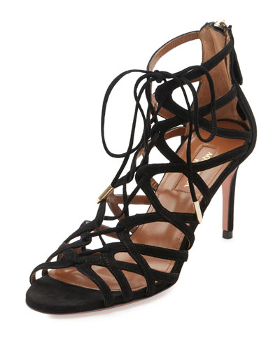 Ivy Lace-Up Suede 75mm Sandal, Black