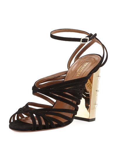 Trinity Strappy Suede Stud-Heel Sandal, Black