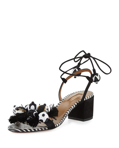 Tropicana Beaded 50mm Sandal, Black Pattern