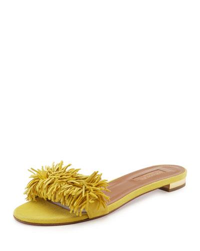 Wild Thing Fringed Slide Sandal, Yellow