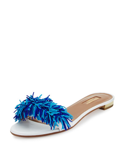 Wild Thing Fringed Slide Sandal, Blue