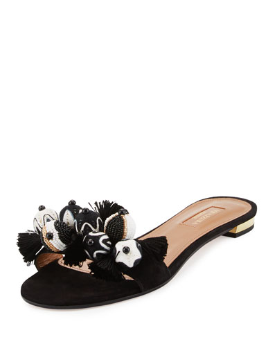 Tropicana Beaded Suede Slide Sandal, Black