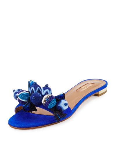 Tropicana Beaded Suede Slide Sandal, Blue