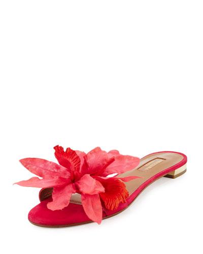 Flore Suede One-Band Slide Sandal, Pink