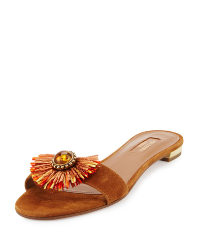 Samba Embellished One-Band Slide Sandal, Luggage