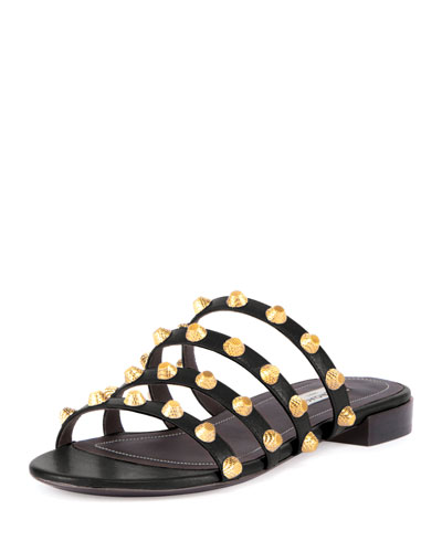Studded Flat Slide Sandal, Black