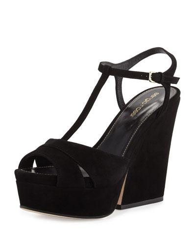 Edwige Suede T-Strap Wedge Sandal, Black