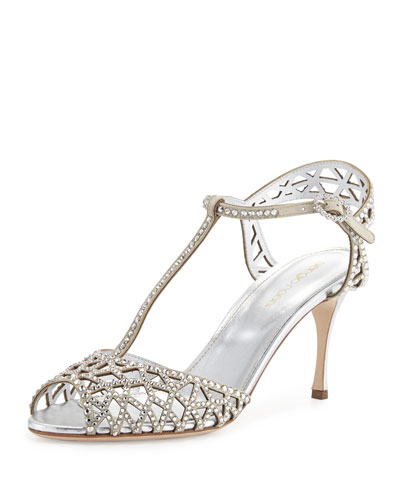 Tresor Crystal T-Strap Sandal, Silver