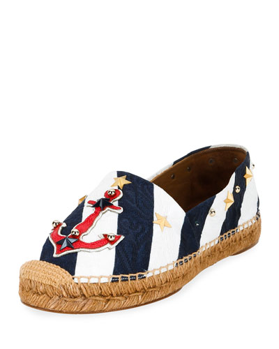 Anchor-Embellished Corduroy Espadrille, White/Navy