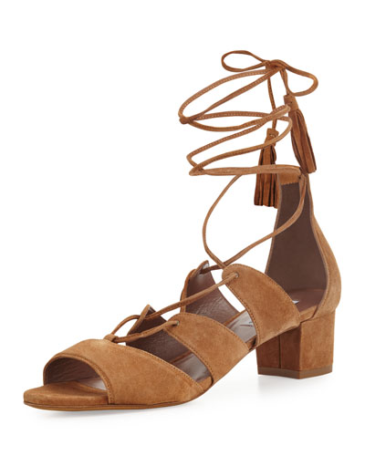 Isadora Suede Lace-Up Sandal, Sand