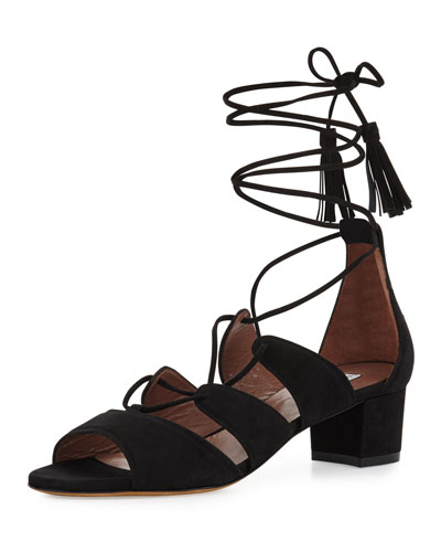 Isadora Suede Lace-Up Sandal, Black