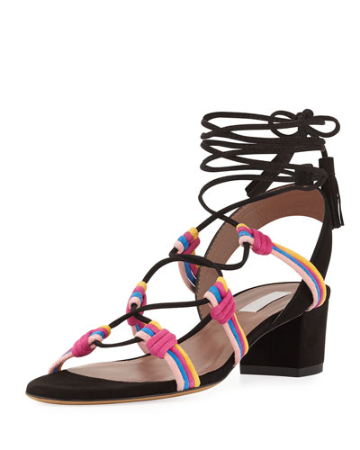 Mendi Suede Lace-Up Sandal, Black