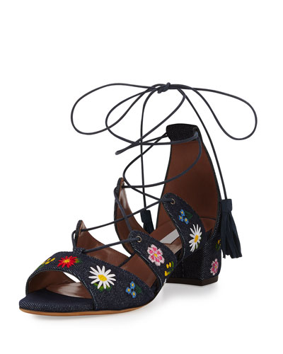 Isadora Floral-Embroidered Lace-Up Sandals, Blue
