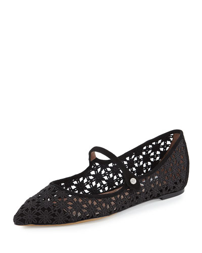 Hermione Daisy Crocheted Mary Jane Flat, Black