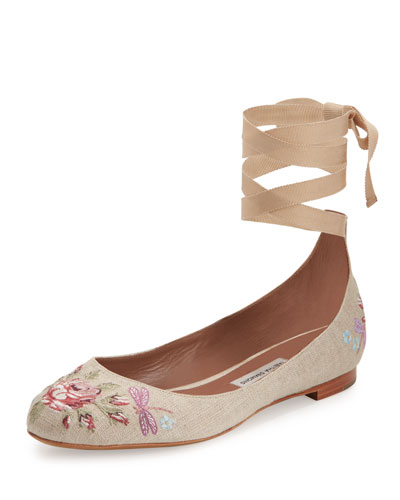 Daria Embroidered Linen Ankle-Wrap Flat, Neutral Pattern