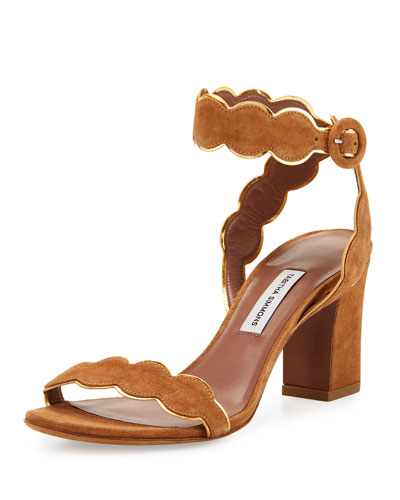 Cloud Suede Ankle-Wrap 75mm Sandal, Tan
