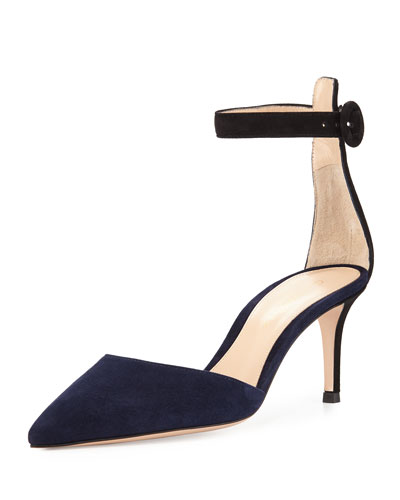 Two-Tone Ankle-Strap d'Orsay Pump