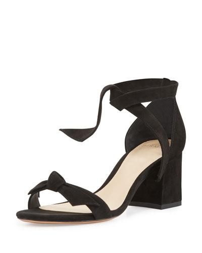 Clarita Suede 60mm City Sandals, Black