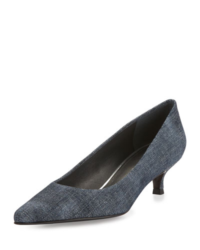 Poco Denim Kitten-Heel Pump, Navy