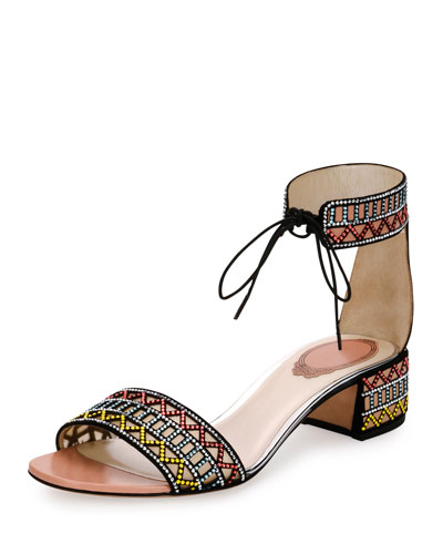 Geometric Crystal Ankle-Cuff Sandal, Black Pattern
