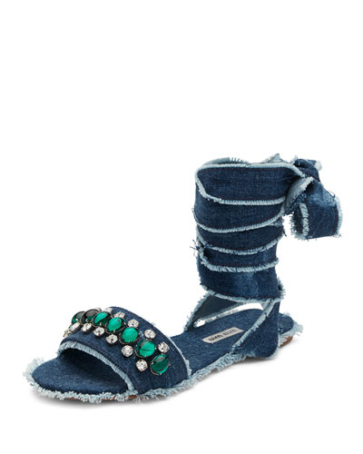 Jeweled Denim Lace-Up Sandal