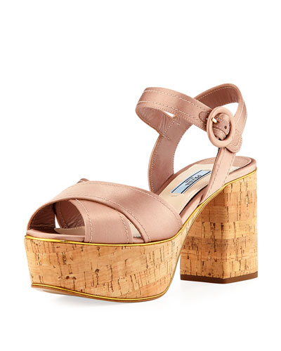 Satin Crisscross Platform Sandal, Neutral