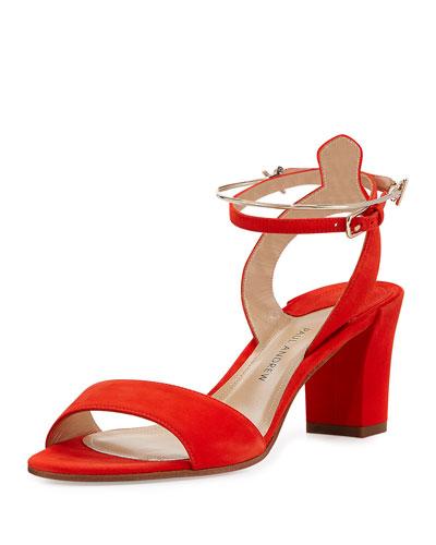 Ecklund Suede Ankle-Cuff Sandal, Coral
