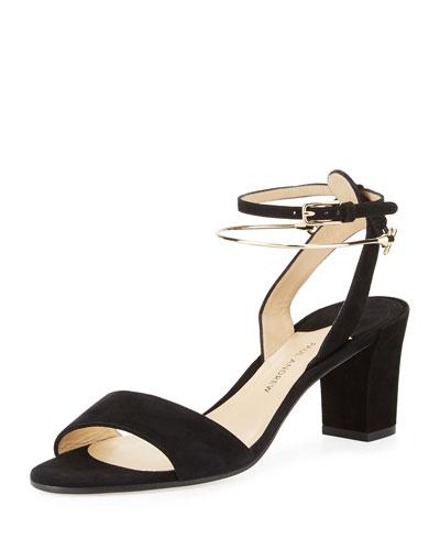 Ecklund Suede Block-Heel Sandal, Black