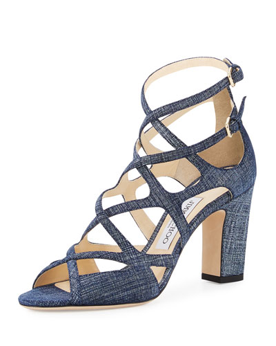 Dillan Caged Denim-Print 85mm Sandal, Light Indigo