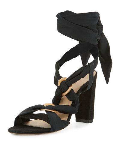 Alessa Ankle-Tie Sandal, Navy
