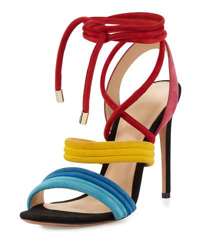 Aurora Strappy Suede Sandal, Multicolor