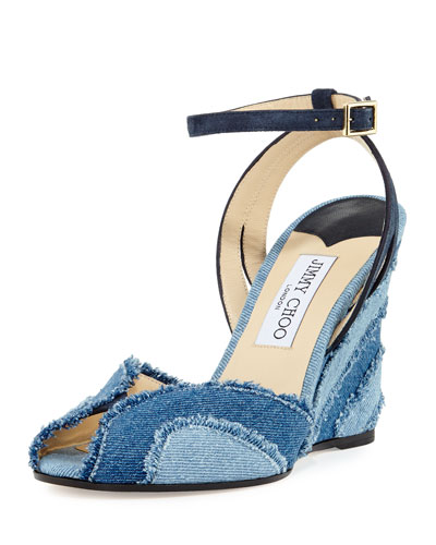 Damon Denim 100mm Wedge Sandal, Light Indigo Mix