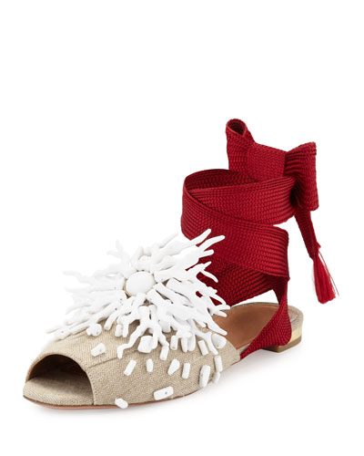 Madagascar Embellished Ankle-Wrap Flat, Red/White