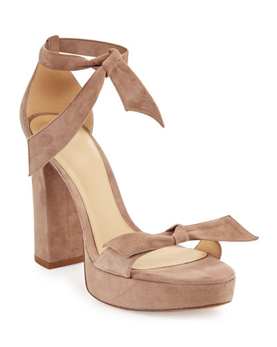 Mabeleh Suede 110mm Platform Sandal, Neutral