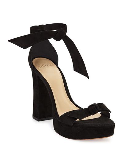 Mabeleh Suede 110mm Platform Sandal, Black