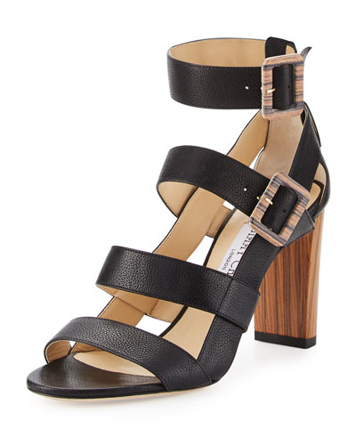 Maya Leather 85mm Sandal, Black