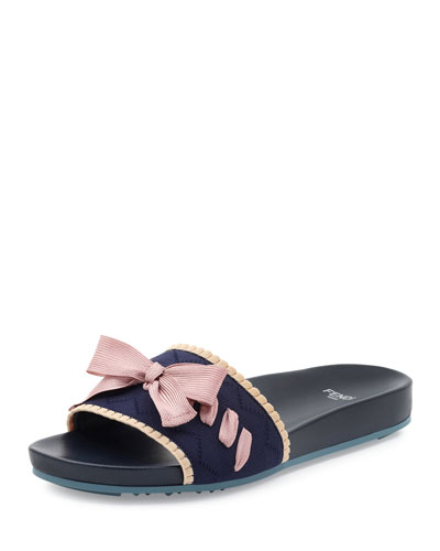 Bow Knit Slide Sandal