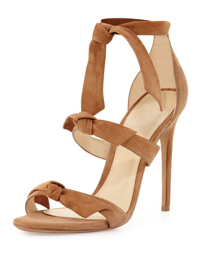 Lolita Knotted Suede Sandal, Beige