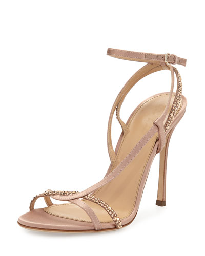 Lexington 105mm Strappy Crystal-Embellished Satin Sandal, Neutral