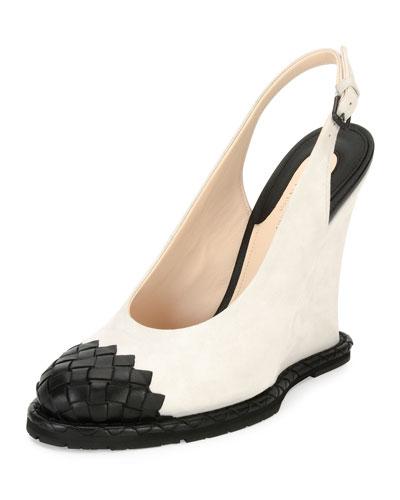 Intrecciato-Toe Slingback Wedge Pump, White/Black