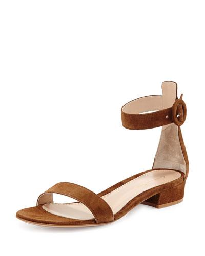 Portofino Suede Ankle-Wrap 20mm Sandal