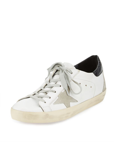 Distressed Leather Sneaker, White Pattern
