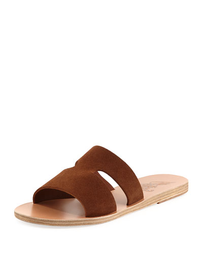 Apteros Double-Band Flat Slide Sandal, Tobacco