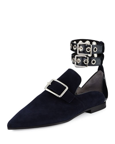 Lolli Suede Ankle-Strap Loafer, Black