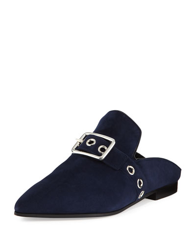 Lopal Suede Buckle Loafer Mule, Navy