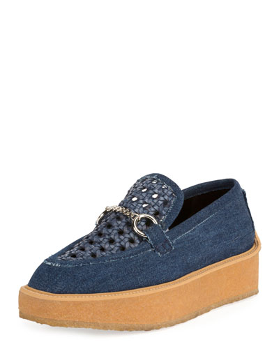 Brody Woven Denim Loafer, Dark Blue