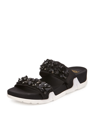 Oman Floral Slide Sandal, Black